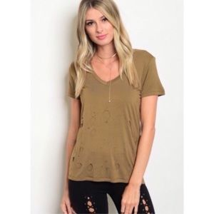 Olive Distressed V-Neck Tee